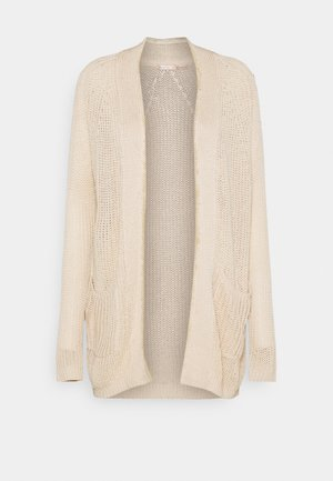 CARDIGAN BRUSH PLACKET - Neuletakki - beige