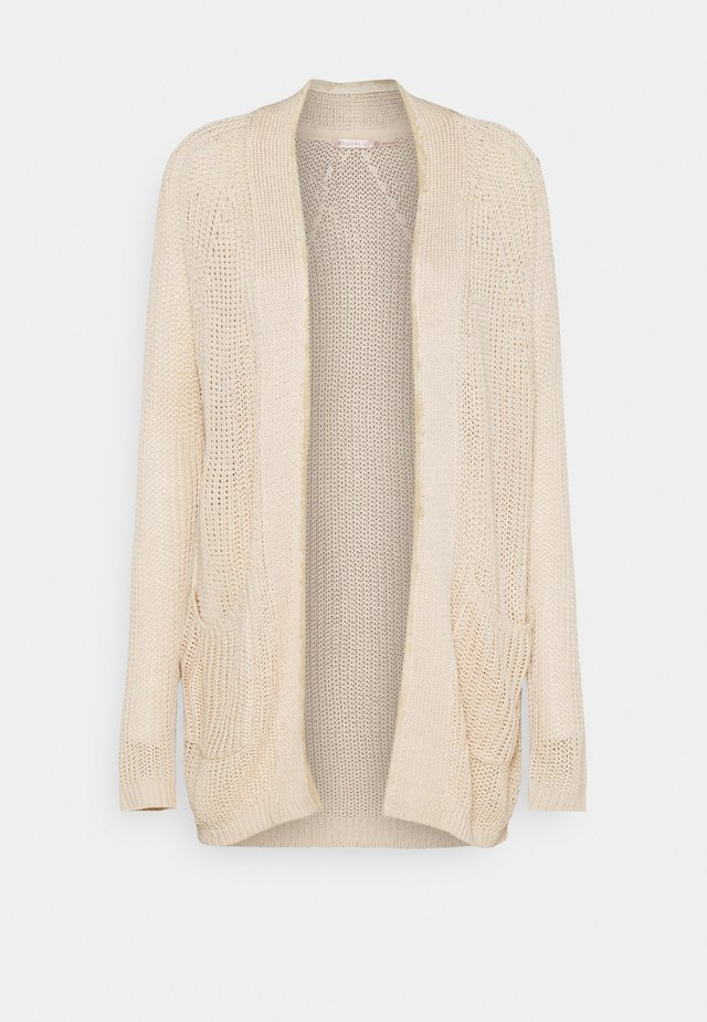 CARDIGAN BRUSH PLACKET - Cardigan - beige