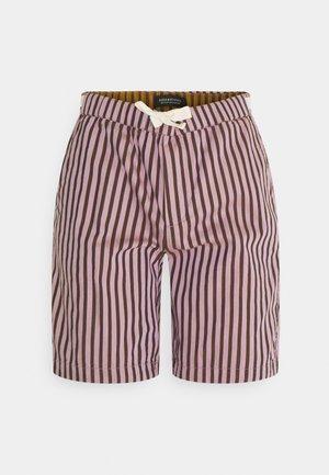FAVESTRIPED BEACH - Swimming shorts - dark purple/off-white