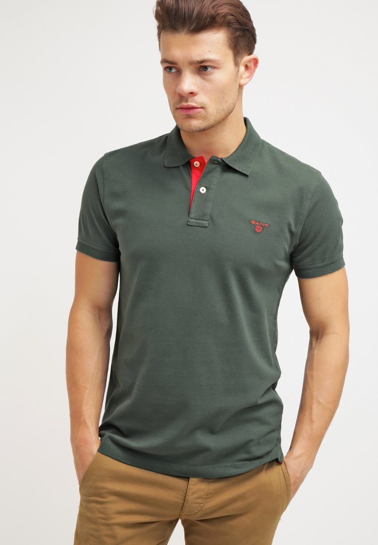 GANT - CONTRAST COLLAR RUGGER - Polo shirt - bottle green