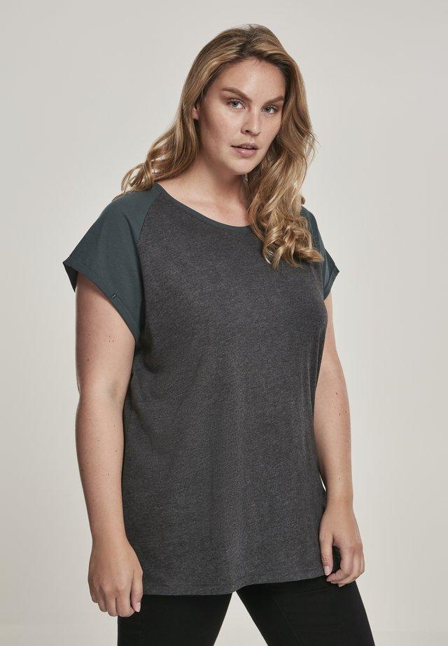 T-shirt imprimé - charcoal/bottlegreen