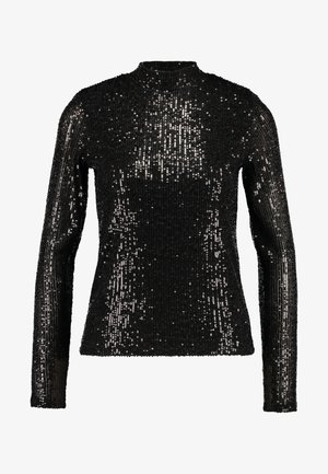 EXCLUSIVE HOLLY GLITTER POLO - Bluse - black