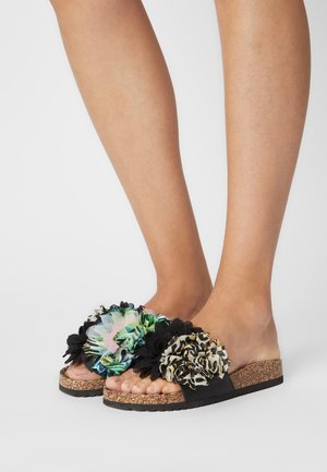 BIO WIDE SOLE FLOWER MIX - Klapki - black