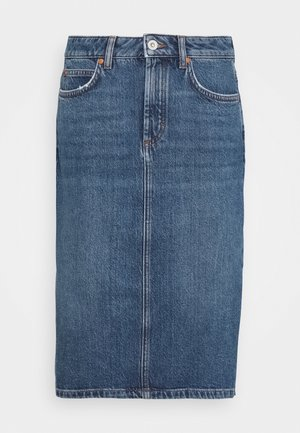 SKIRT OVER KNEE LENGTH - Denim skirt - mid authentic wash