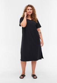 Zizzi - MIT SCHLITZ - Jersey dress - black - 1