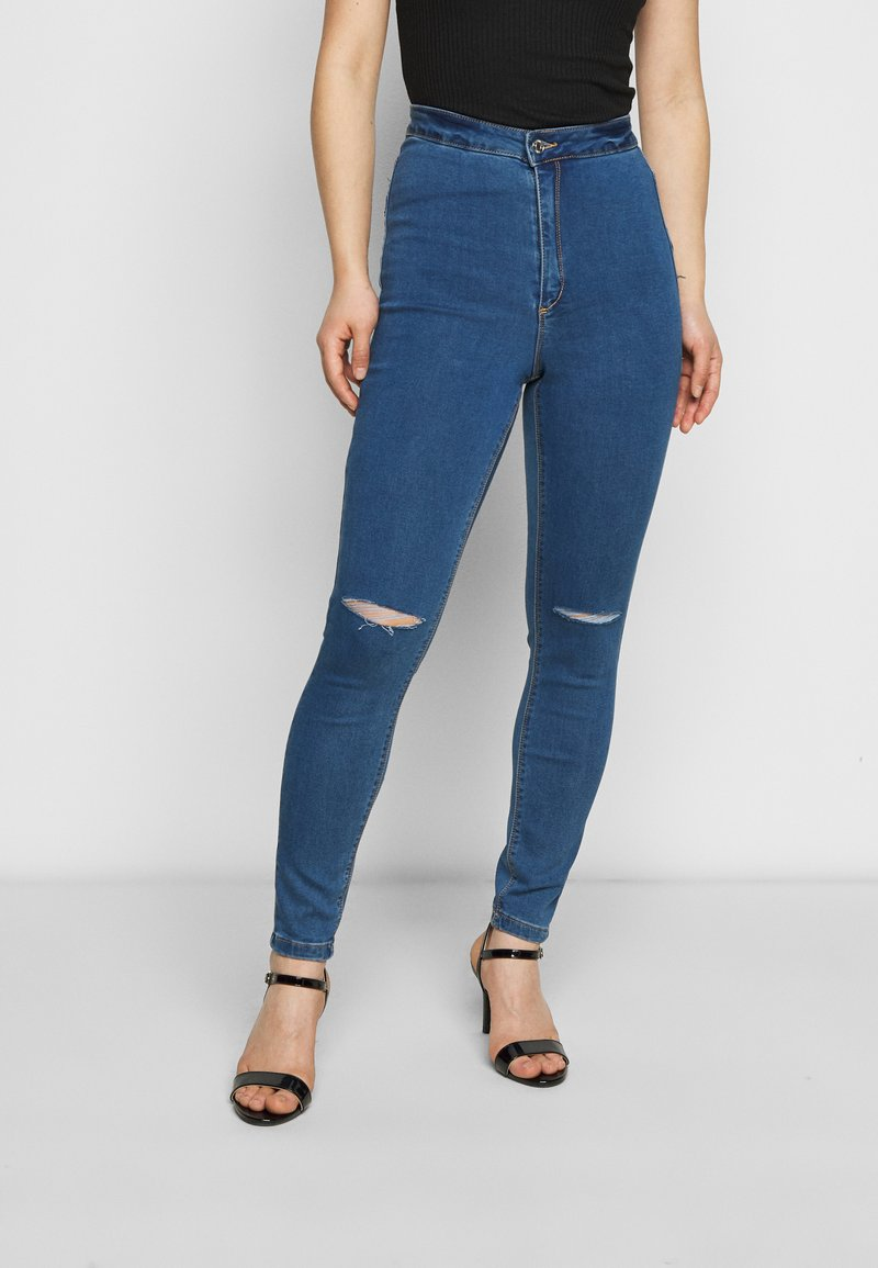 Missguided Petite - VICE HIGHWAISTED SLASH KNEE - Jeans Skinny Fit - blue
