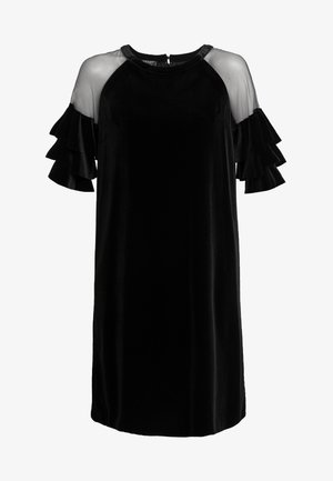 VELVET DRESS WITH VOLANTS - Cocktail dress / Party dress - black
