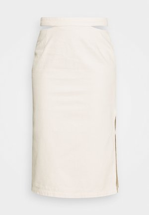 CUT OUT SKIRT - Falda vaquera - light beige