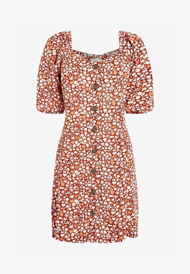 CREAM FLORAL PRINT TIE SLEEVE BUTTON FRONT - Sukienka letnia - orange