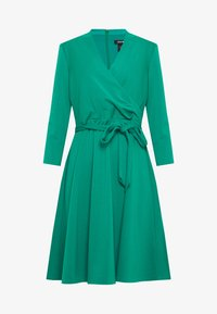 3/4 SLEEVE FAUX WRAP BODICE FIT FLARE - Day dress - emerald