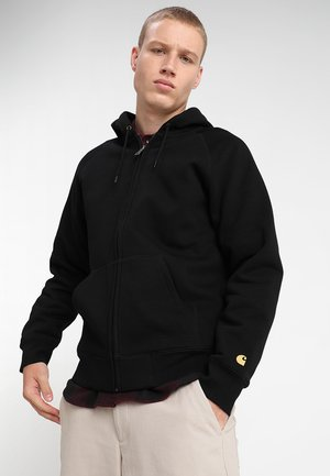 HOODED CHASE - Bluza z kapturem - black/gold