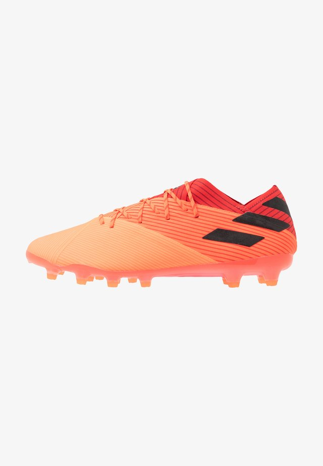 NEMEZIZ 19.1 AG - Moulded stud football boots - signal coral/core black/red