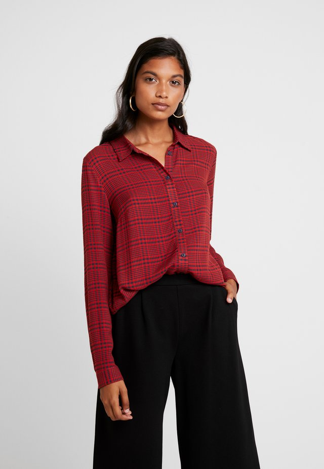 MEGAN - Button-down blouse - red/black