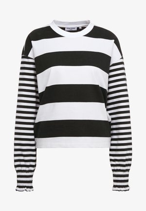 CROPPED STRIPE - Long sleeved top - black/white