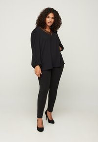 Zizzi - WITH A V-NECK AND LACE TRIM - Blouse - black - 1