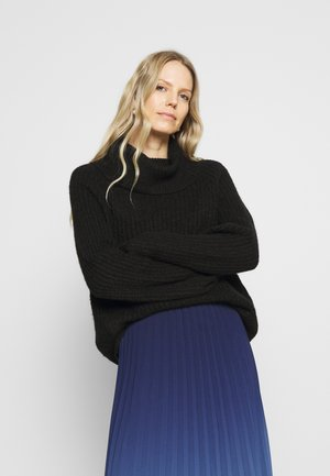 Roll neck- ribbed - Jumper - black