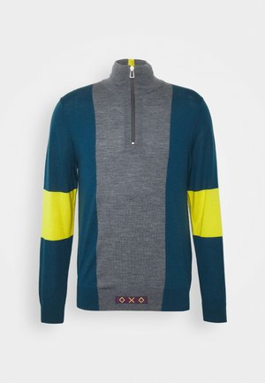 MENS ZIP NECK - Jumper - petrol/dark grey melange/yellow