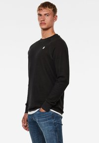 G-Star - JIRGI TAPE DETAIL ROUND LONG SLEEVE - Felpa - dk black/raven - 2
