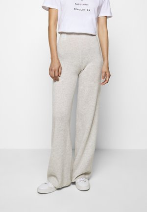 AVA PANTS - Tygbyxor - light grey melange
