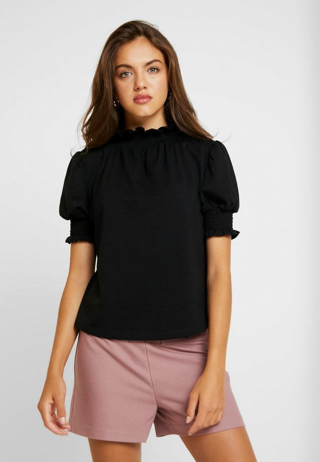 WITH SHIRRED DETAIL - T-shirts print - black