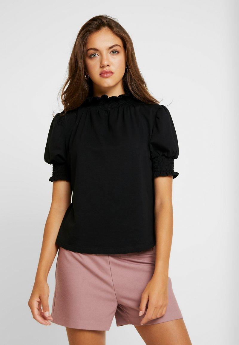 Lost Ink - WITH SHIRRED DETAIL - T-shirt z nadrukiem - black