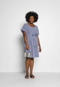 ONLY Carmakoma - CARISA LIFE STRIPE KNEE - Day dress - medium blue denim/cloud dancer - 1
