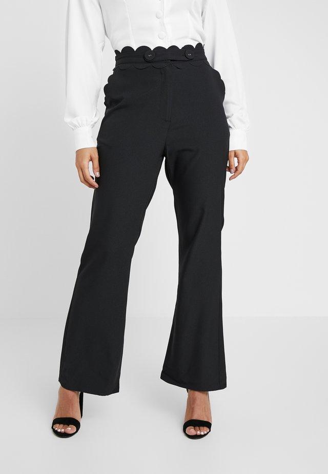 TORA TROUSERFASHION UNION SCALLOP TRIM - Trousers - black