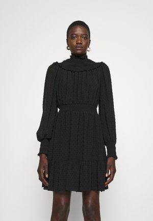 SWISS DOT SMOCKED DRESS - Day dress - black