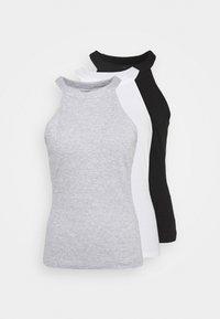 3 PACK - Top - black/white/light grey