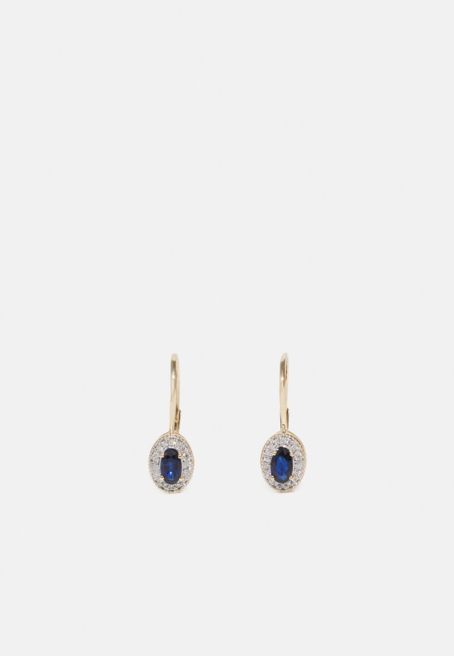 NATURAL DIAMOND EARRINGS CARAT BLUE SAPPHIRE HALO HOOP DIAMOND EARRINGS KT DIAMOND JEWELLERY GIFTS FOR WOMENS - Øreringe - gold