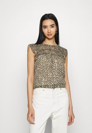 ONLMARGUERITE CAPSLEEVE  - T-shirts med print - pumice stone