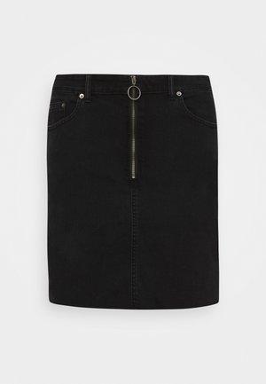 ZIPPER SKIRT - Denimová sukně - black