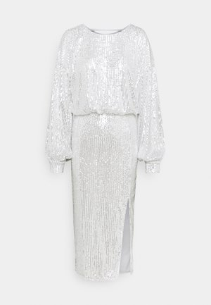 SEQUIN BALLOON SLEEVE SIDE SPLIT DRESS - Sukienka koktajlowa - silver