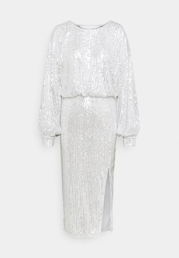 SEQUIN BALLOON SLEEVE SIDE SPLIT DRESS