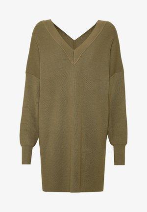 OBJDIVIAN - Pletené šaty - burnt olive