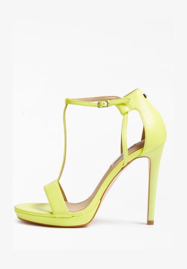 SANDALETTE TECRU ECHTES LEDER - Sandalen met hoge hak - jaune fluo