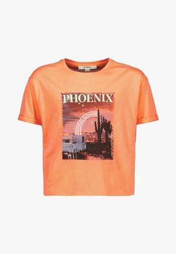 WITH PRINT - Print T-shirt - peach neon