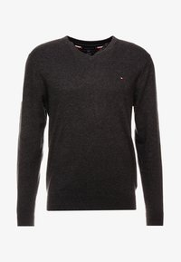 Tommy Hilfiger - BLEND VNECK - Strikkegenser - jet black heather - 3