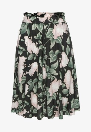 A-line skirt - schwarz rosa bedruckt