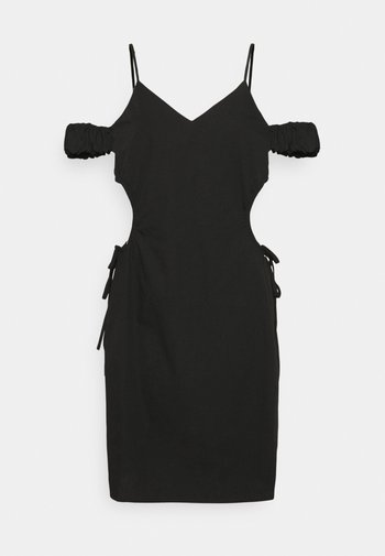 CUT OUT MINI DRESS - Shift dress - black