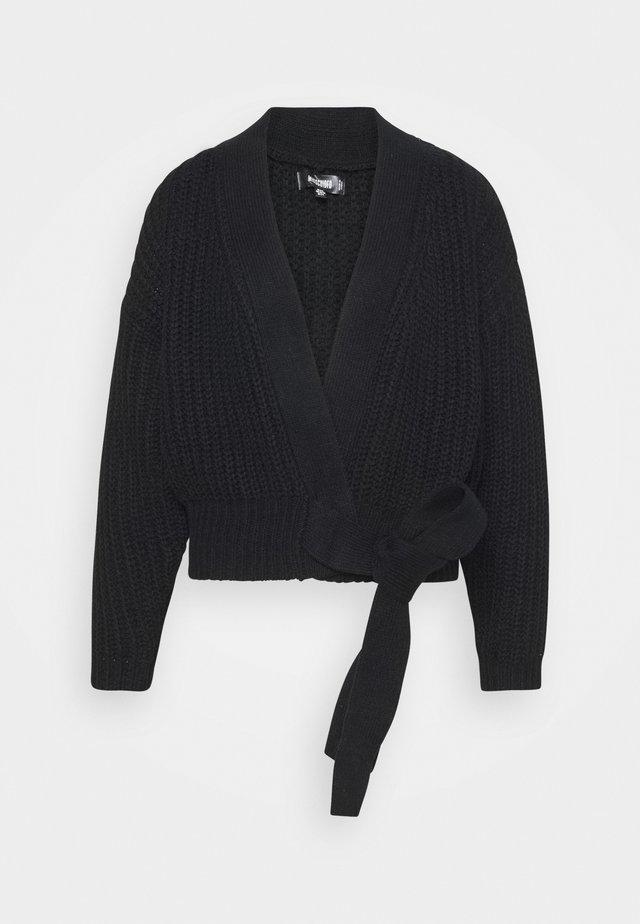 BELTED CARDIGAN - Vest - black