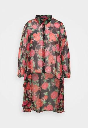 BLURRED FLORAL MAXI SHIRT - Button-down blouse - black