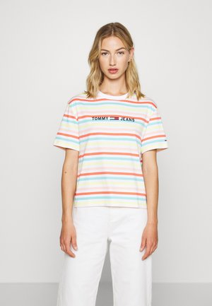 SUMMER STRIPE LOGO TEE - Print T-shirt - frozen lemon/multi