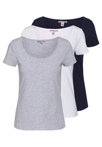 Anna Field - 3 PACK - T-shirts - white/navy/light grey melange - 0