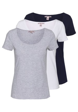 3 PACK - T-shirts - white/navy/light grey melange