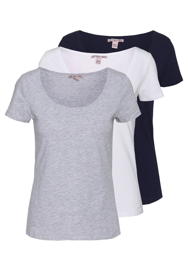 3 PACK - T-shirt - bas - white/navy/light grey melange