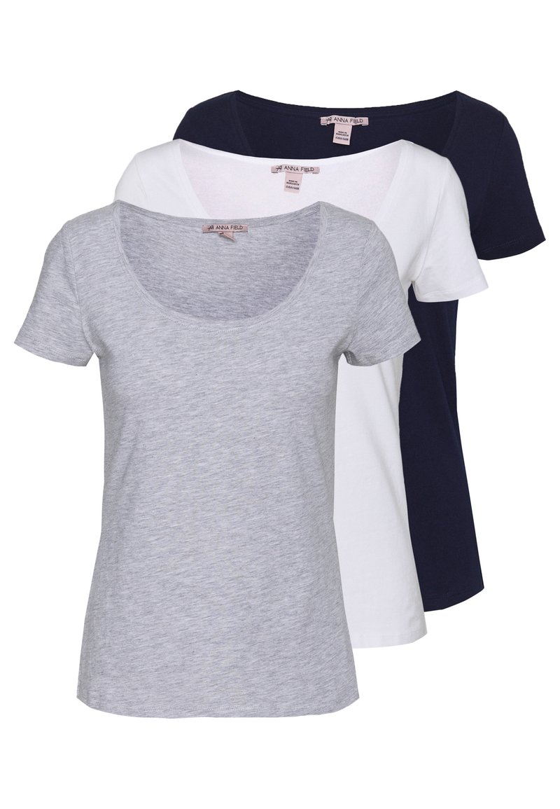 Anna Field - 3 PACK - T-shirts - white/navy/light grey melange