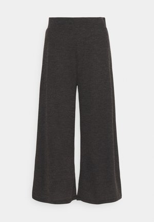 WIDE LEG RIBBED TROUSERS - Tygbyxor - mottled dark grey
