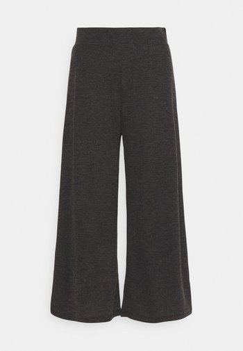 WIDE LEG RIBBED TROUSERS - Trousers - mottled dark grey