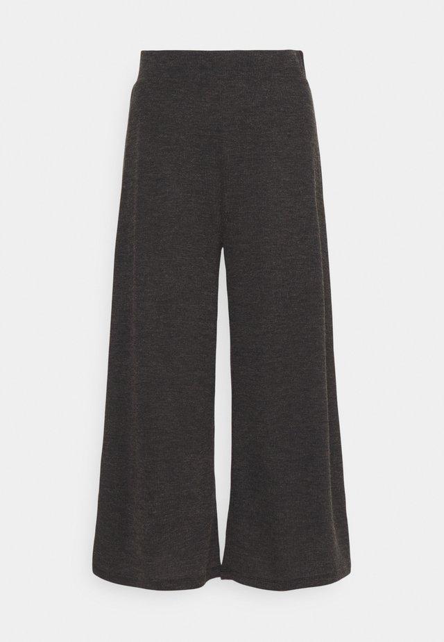 WIDE LEG RIBBED TROUSERS - Pantalones - mottled dark grey